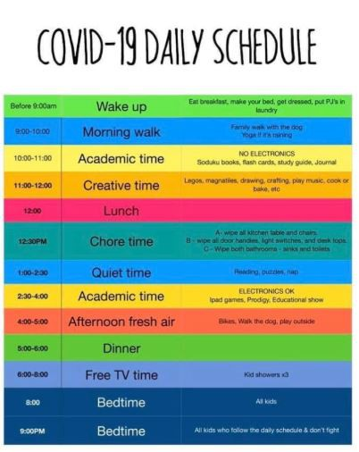 COVID- 19 Sample Daily Schedule--distributed by www.nesca-newton.com