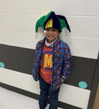 student in jester hat