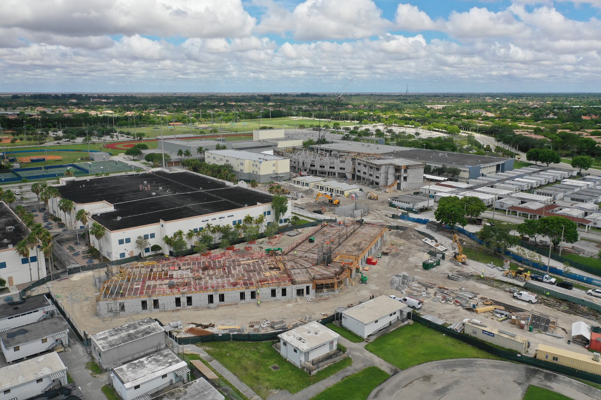Aerial view of Falcon Cove Middle School and Cypress Bay High School