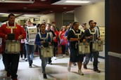 Drumline leading the school to the pep assembly!