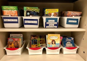 We fill up book bins with Scholastic books!