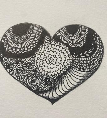Zen doodle heart. Black & White