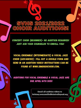 SVHS Choir Auditions 2021/2022