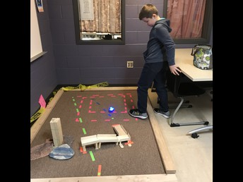 """Noah programs the 5th grade """"Sphero"""" robot to complete an obstacle course"""