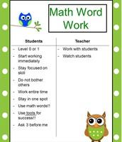 Math Word Work Anchor Chart