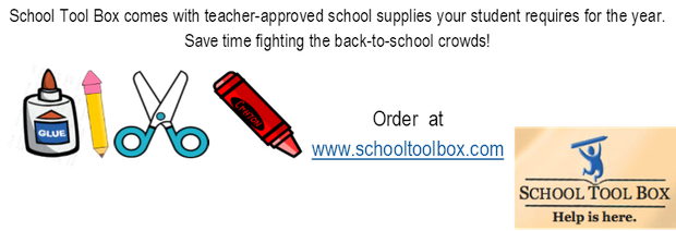 Glue, pencil, scissors and crayon. School Tool Box Order