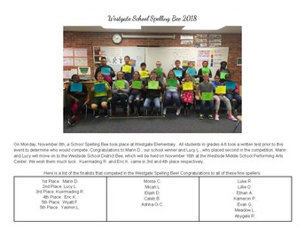Westgate School Spelling Bee 2018