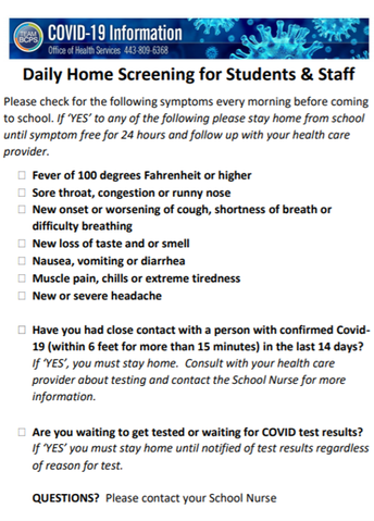 The COVID-19 Health Screening and Emergency Contact Form