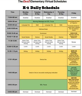 K-2 Daily Schedule