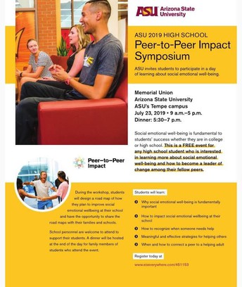 ASU 2019 HIGH SCHOOL PEER-TO-PEER IMPACT SYMPOSIUM