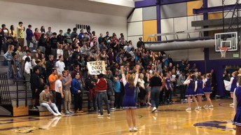 Lathrop cheerleaders lead cheers at the Homecoming Assembly on Wednesday.