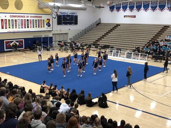 UHS Competition Cheer team shows off part of their routine!