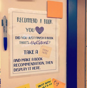 The student book recommendation wall keeps growing! Students use it daily to find great books that their peers have enjoyed!