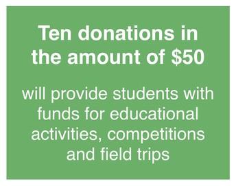 Ten $50 donations