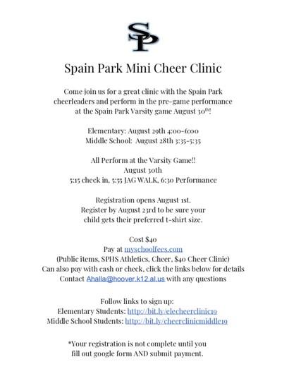 Spain Park Cheer Clinic