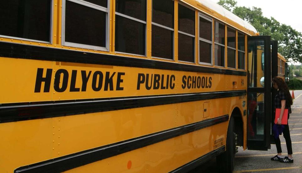 High school female students boards Holyoke Public Schools bus