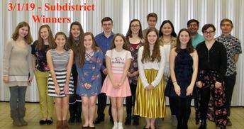 Forensics Team Subdistrict Winners