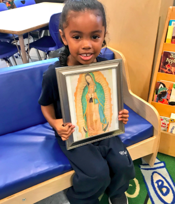 Zaiya loved learning about Our Lady of Guadeloupe!