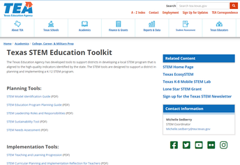 Texas Education Agency STEM Toolkit