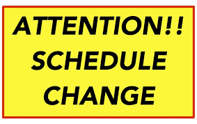 Important  Schedule Change for the week of September 21st