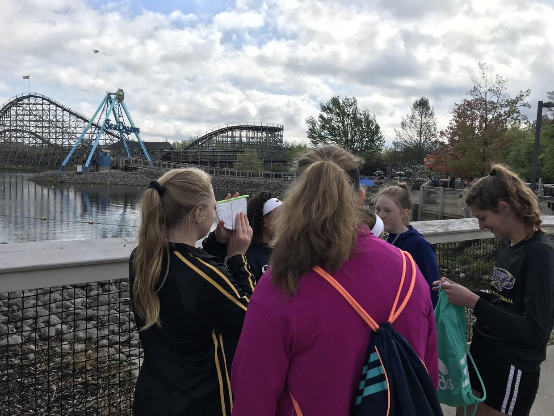 Middle school students at Amusement Park Physics