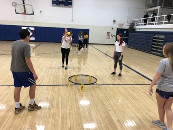 Student playing Spike Ball during extension in PE