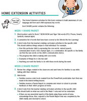 Home extension activities accompany each book