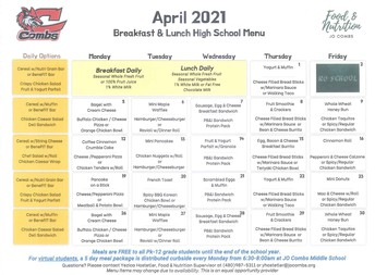 APRIL'S  BREAKFAST/LUNCH MENU