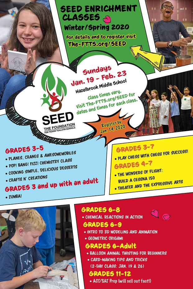 SEED Enrichment Classes Winter/Spring 2020 - Click on flyer to be directed to SEED website
