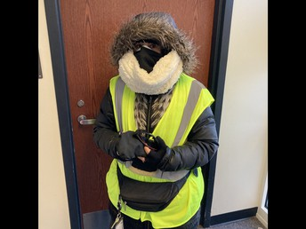 Ms. Matthews ready for the cold!