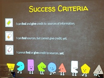 The lesson's success criteria