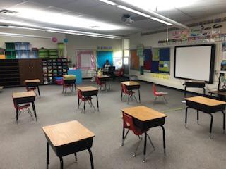 Ms. Williams busy teaching kindergarten!