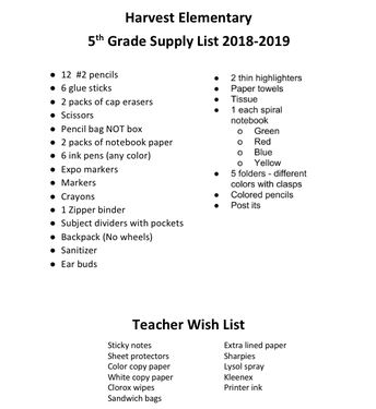 5th Grade Supply List