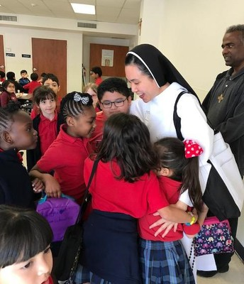 Elementary Students Excited to Meet Sr. Anna