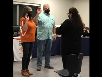 Pam Evans and William Foster Being Sworn In as Newly Elected Board Members