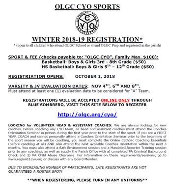 OLGC CYO Winter Registration - LAST CALL!