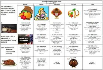 A sneak peek at November's breakfast and lunch menu