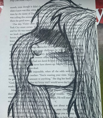 Profile of girl over book print