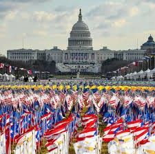 many flags in front of the Capitol