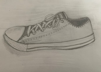 Black & white pencil drawing of a tennis shoe