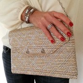 NEW metallic clutch (can use versatile chain available above in necklaces)