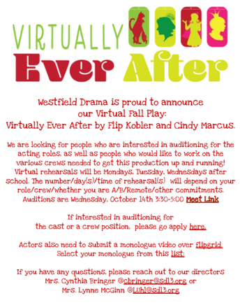Westfield Drama is Holding Virtual Auditions