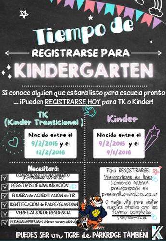 We are NOW processing TK & Kinder Enrollments!