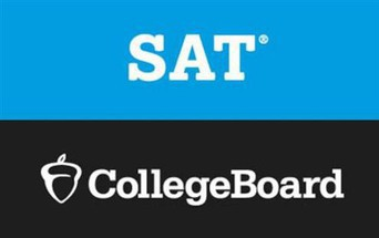 The text SAT in white on a blue background above CollegeBoard in white on a black background
