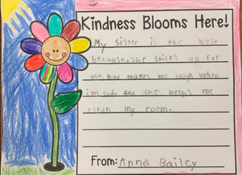 Kindness Blooms by making people laugh and helping clean their room