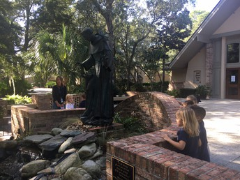 Looking at the St. Francis statue