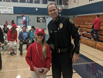 Madeline Smith with Chief David Nisleit