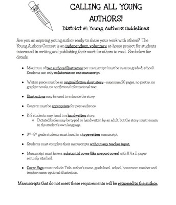 Young Authors Guidelines & Info 2019
