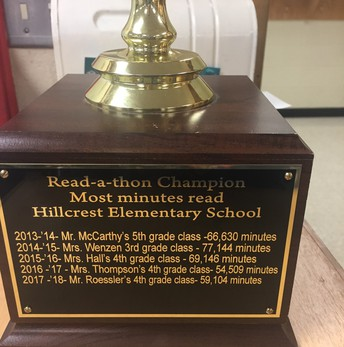 Contrats to Mr. Roessler's Class - this year's Read-A-Thon trophy winners!