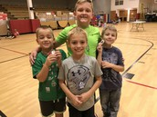 Some of our proud 2nd graders with their new Brag Tags!